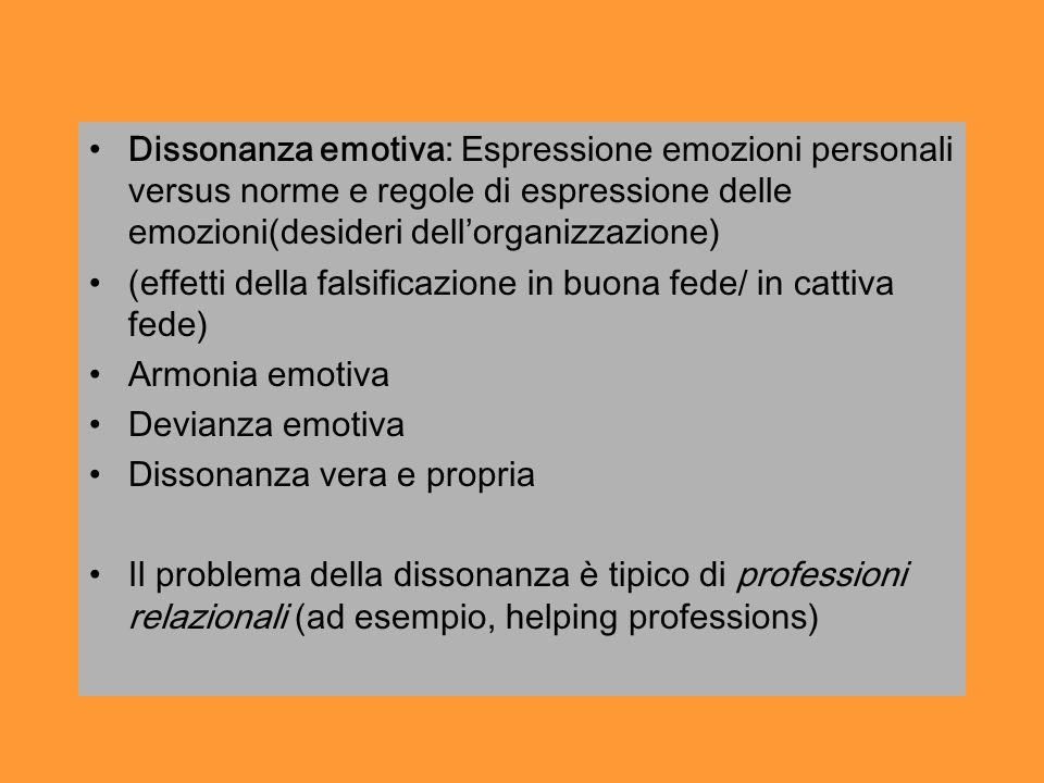 Dissonanza emotiva: Espressione emozioni personali versus norme e regole di espressione delle emozioni(desideri dell'organizzazione)