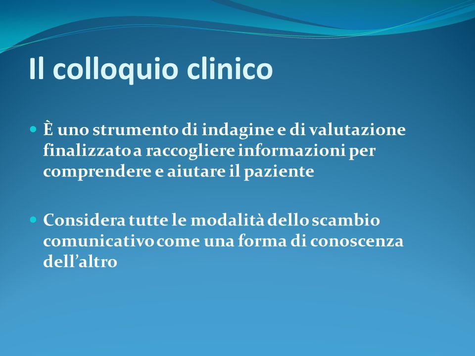 Il colloquio clinico È uno strumento di indagine e di valutazione finalizzato a raccogliere informazioni per comprendere e aiutare il paziente.