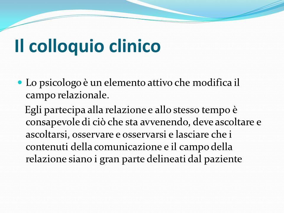 Il colloquio clinico Lo psicologo è un elemento attivo che modifica il campo relazionale.