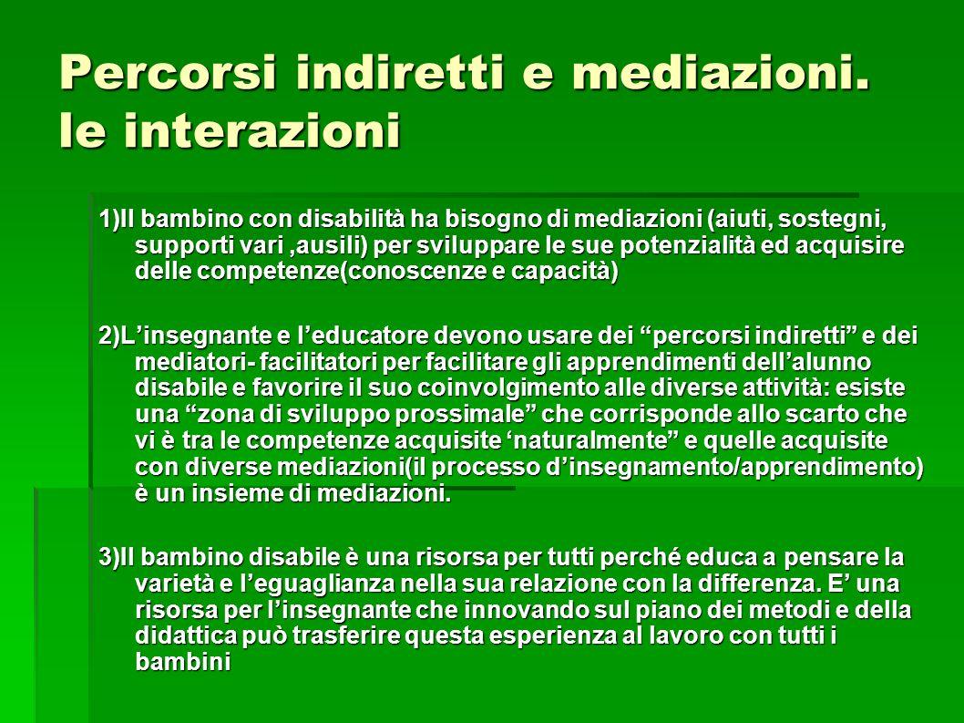 Percorsi indiretti e mediazioni. le interazioni