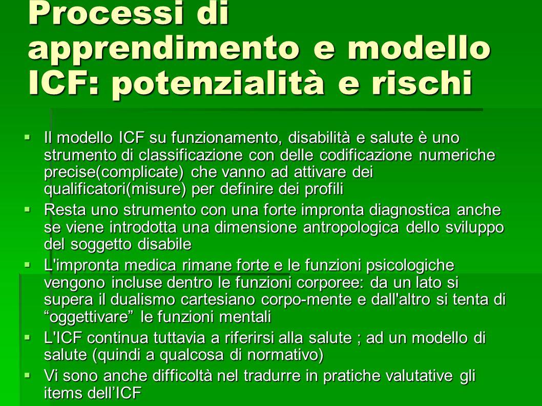Processi di apprendimento e modello ICF: potenzialità e rischi