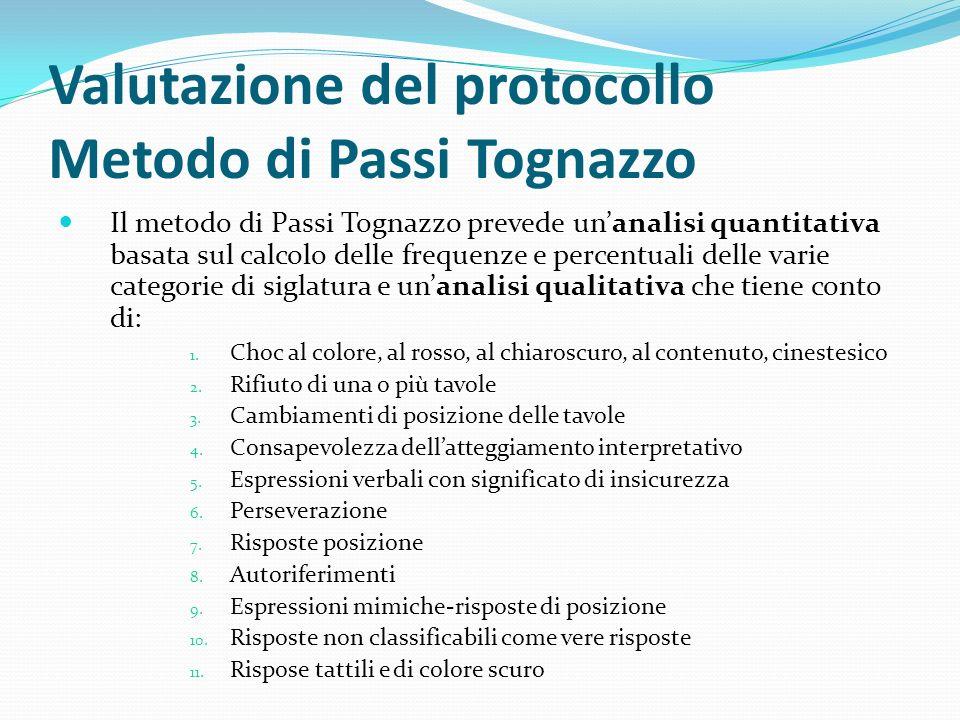 Valutazione del protocollo Metodo di Passi Tognazzo