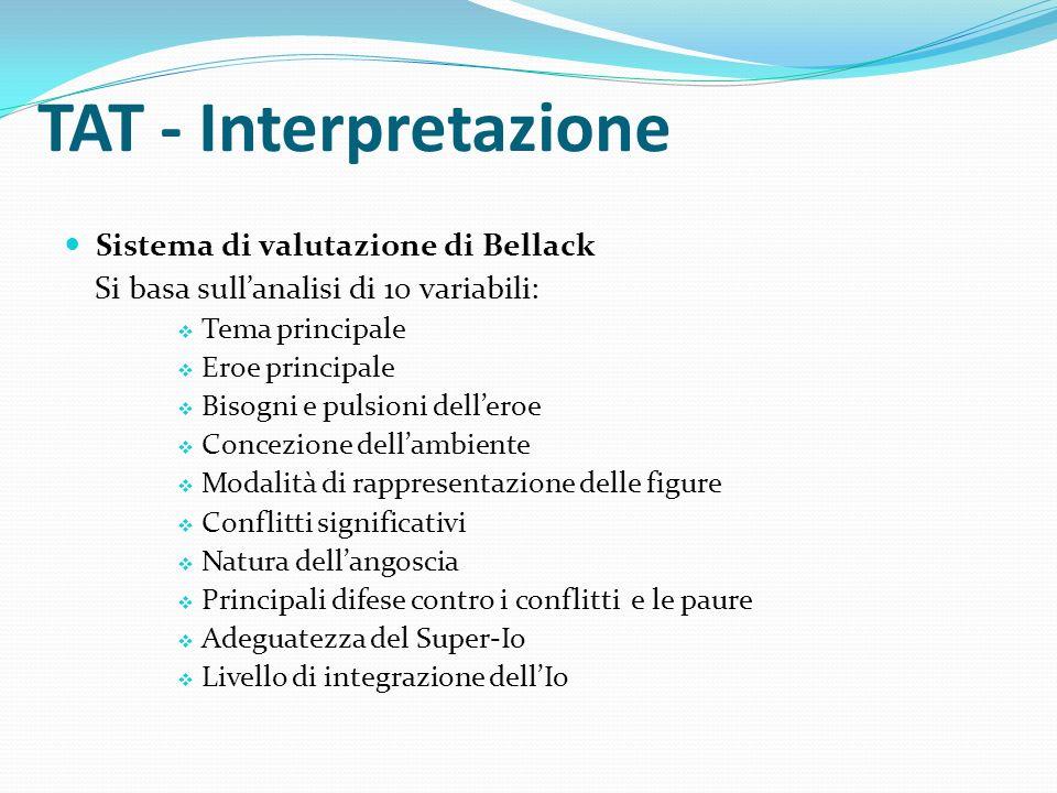 TAT - Interpretazione Sistema di valutazione di Bellack