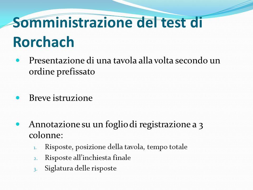 Somministrazione del test di Rorchach