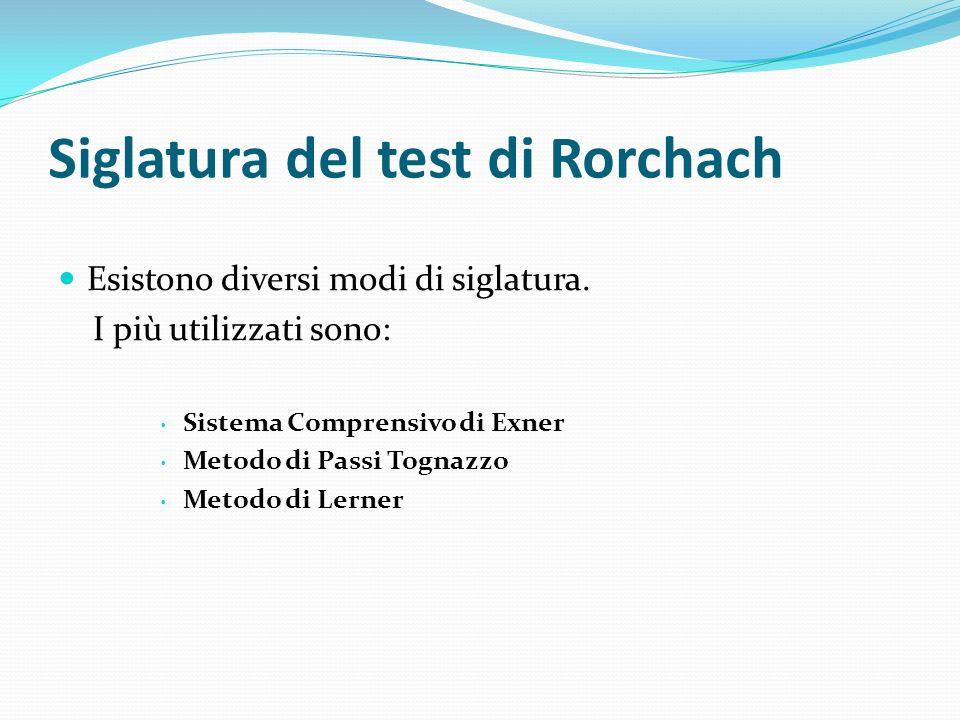 Siglatura del test di Rorchach