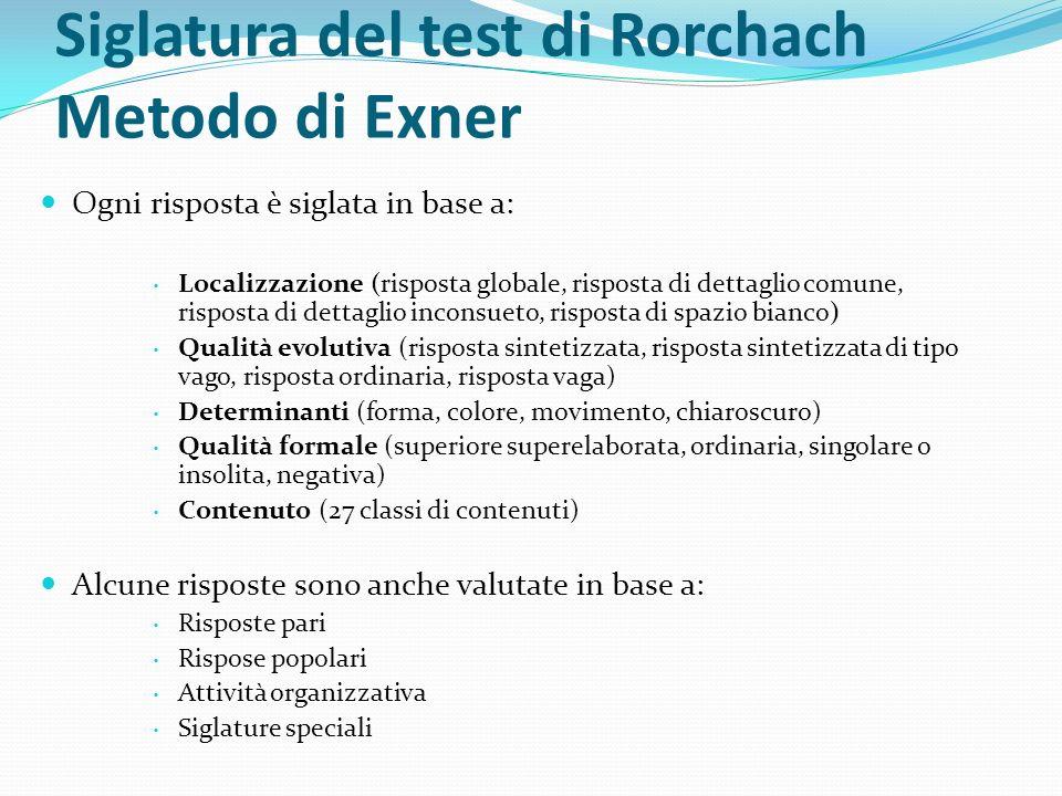 Siglatura del test di Rorchach Metodo di Exner