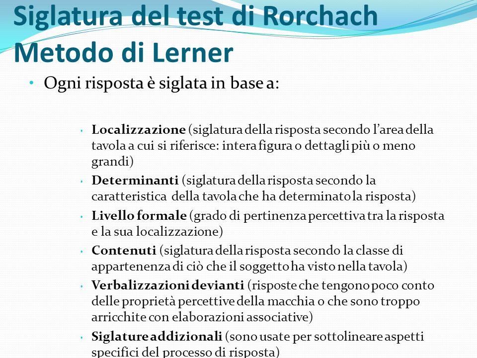 Siglatura del test di Rorchach Metodo di Lerner