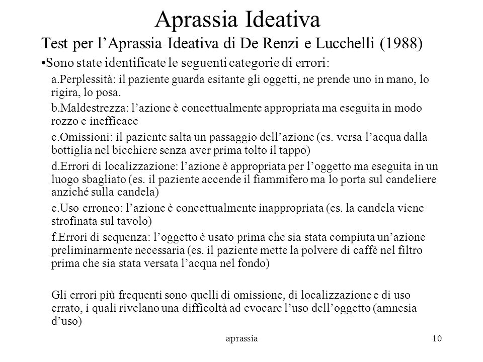 Aprassia Ideativa Test per l'Aprassia Ideativa di De Renzi e Lucchelli (1988) Sono state identificate le seguenti categorie di errori: