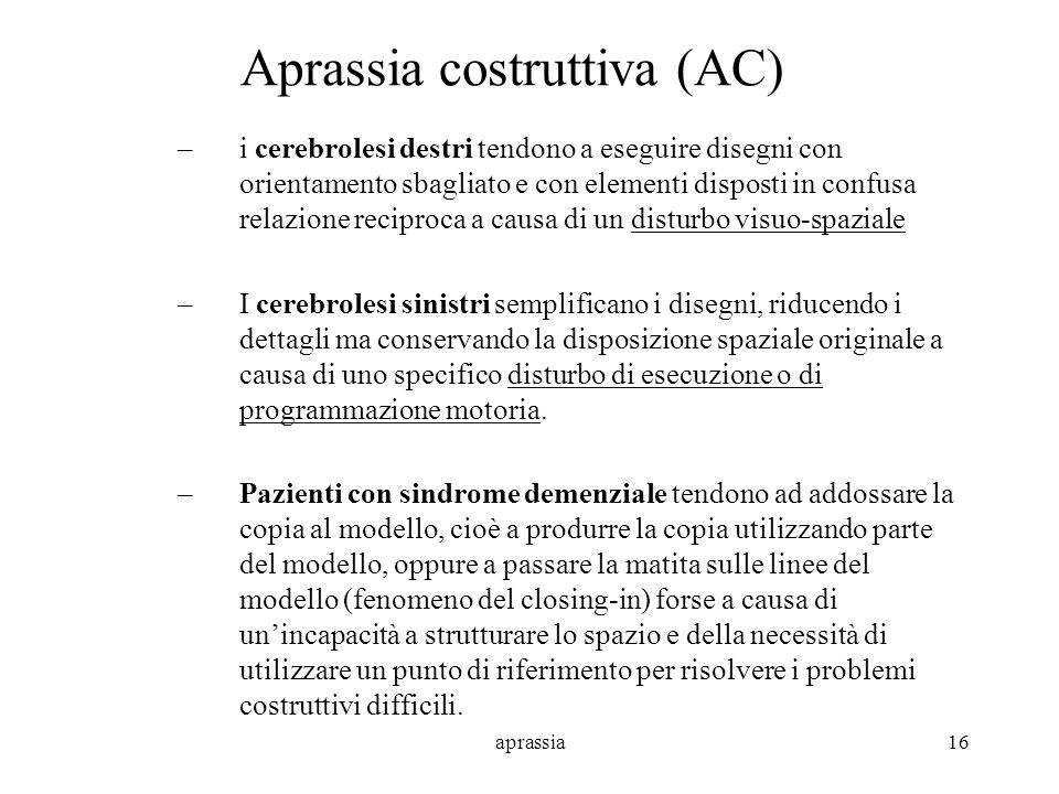 Aprassia costruttiva (AC)
