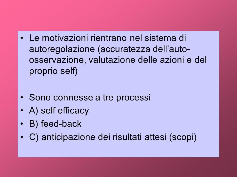 Le motivazioni rientrano nel sistema di autoregolazione (accuratezza dell'auto-osservazione, valutazione delle azioni e del proprio self)