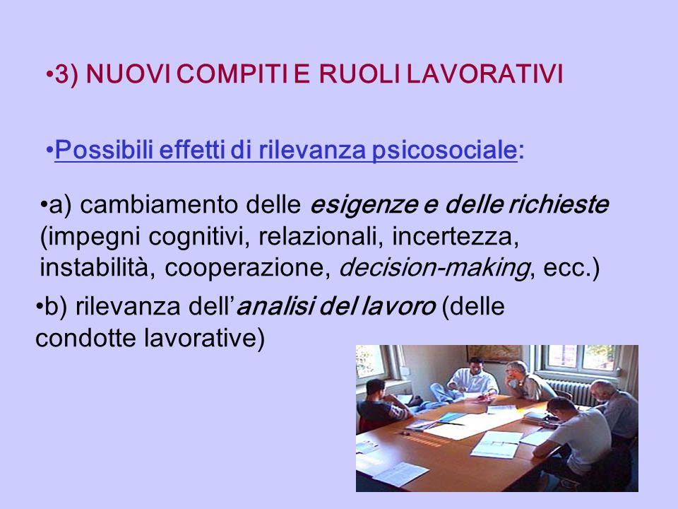 3) NUOVI COMPITI E RUOLI LAVORATIVI