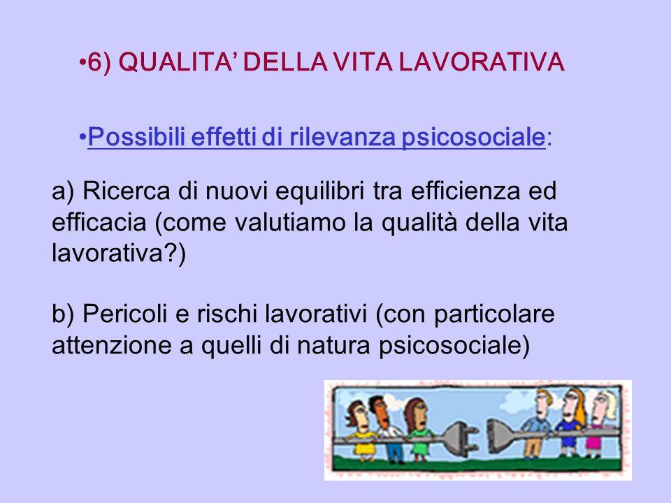 6) QUALITA' DELLA VITA LAVORATIVA