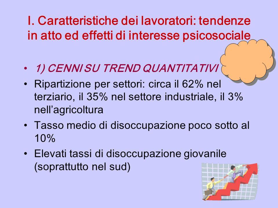 I. Caratteristiche dei lavoratori: tendenze in atto ed effetti di interesse psicosociale