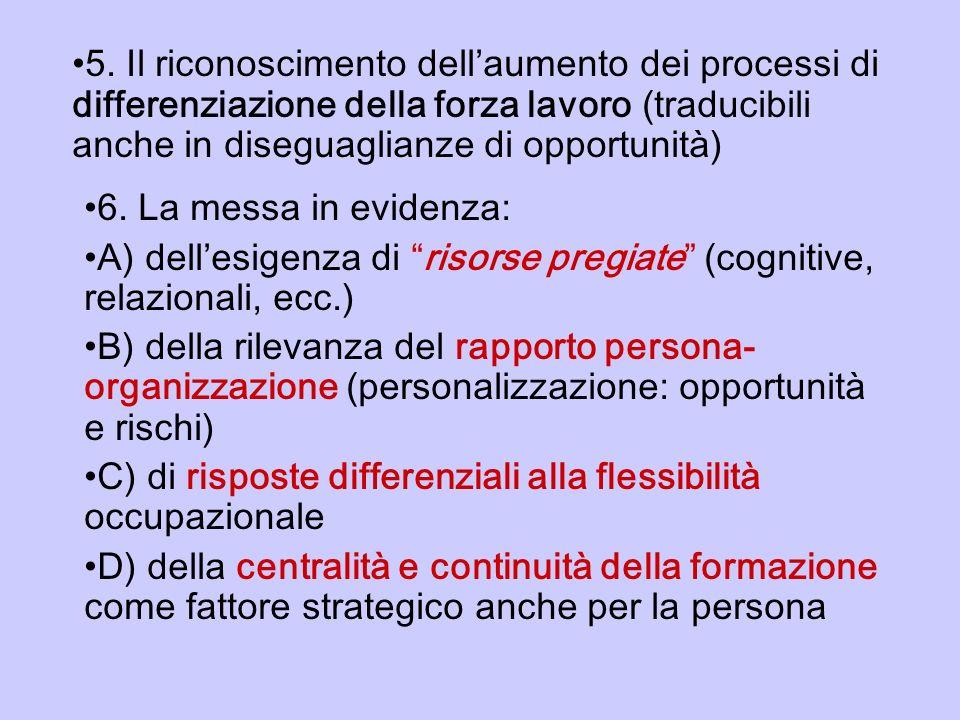 5. Il riconoscimento dell'aumento dei processi di differenziazione della forza lavoro (traducibili anche in diseguaglianze di opportunità)