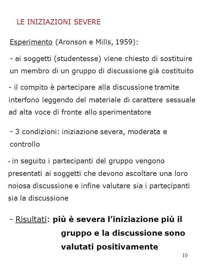 LE INIZIAZIONI SEVERE Esperimento (Aronson e Mills, 1959):