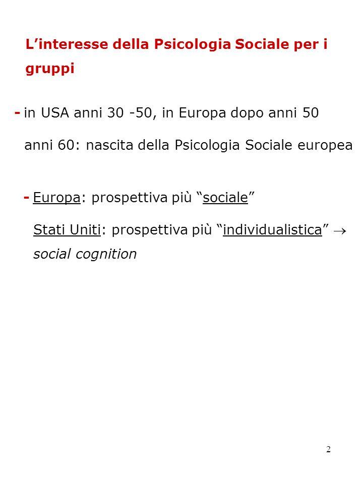 L'interesse della Psicologia Sociale per i gruppi