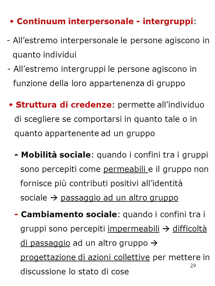  Continuum interpersonale - intergruppi: