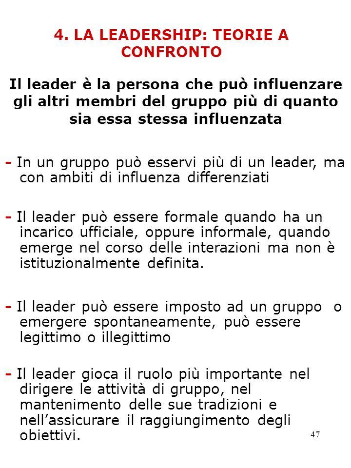 4. LA LEADERSHIP: TEORIE A CONFRONTO