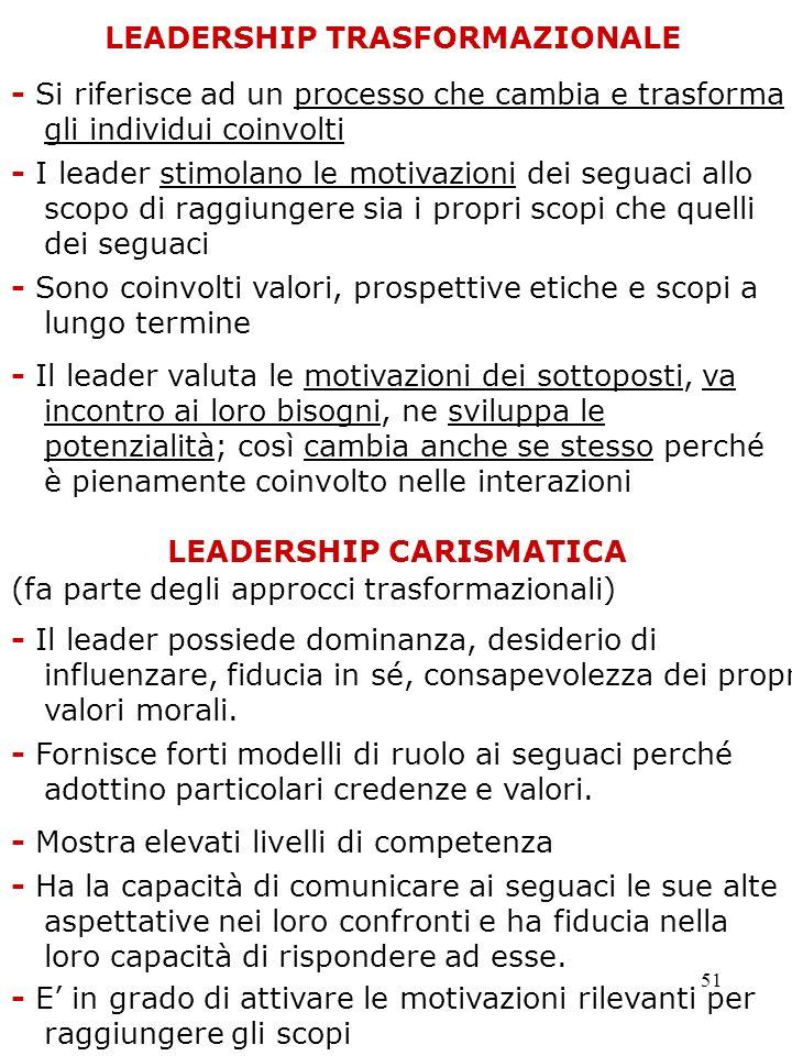 LEADERSHIP TRASFORMAZIONALE LEADERSHIP CARISMATICA