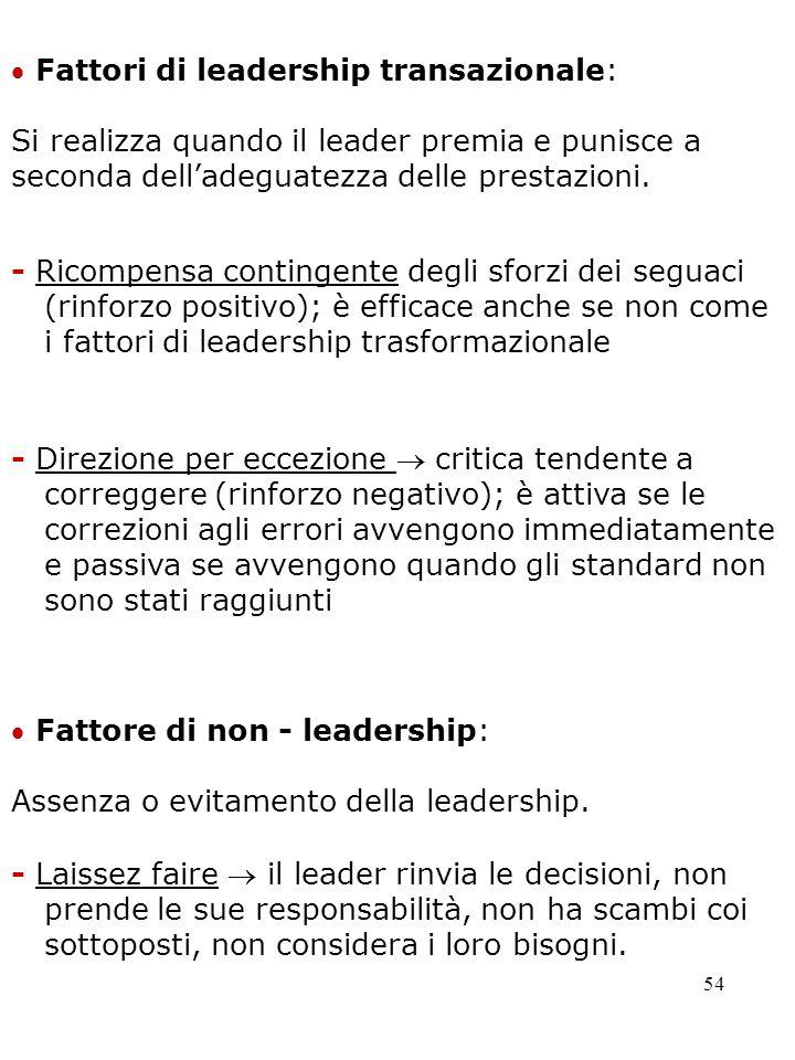  Fattori di leadership transazionale: