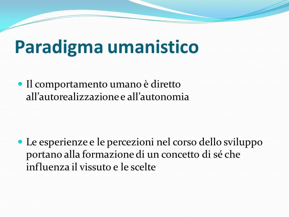 Paradigma umanistico Il comportamento umano è diretto all'autorealizzazione e all'autonomia.