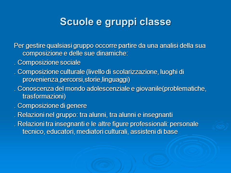 Scuole e gruppi classe Per gestire qualsiasi gruppo occorre partire da una analisi della sua composizione e delle sue dinamiche: