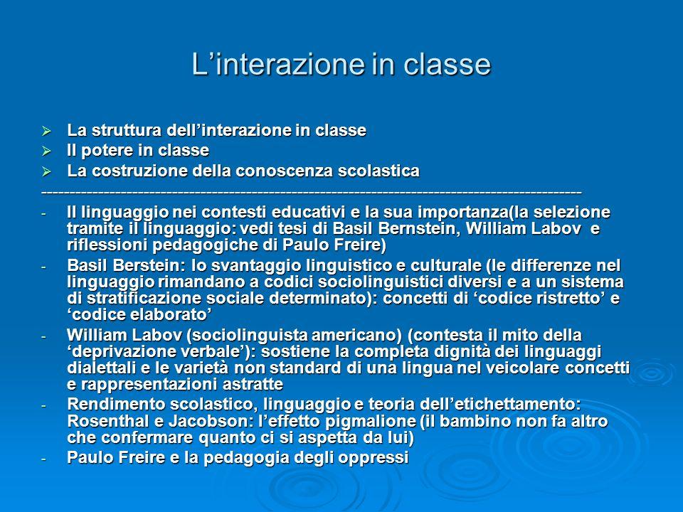 L'interazione in classe