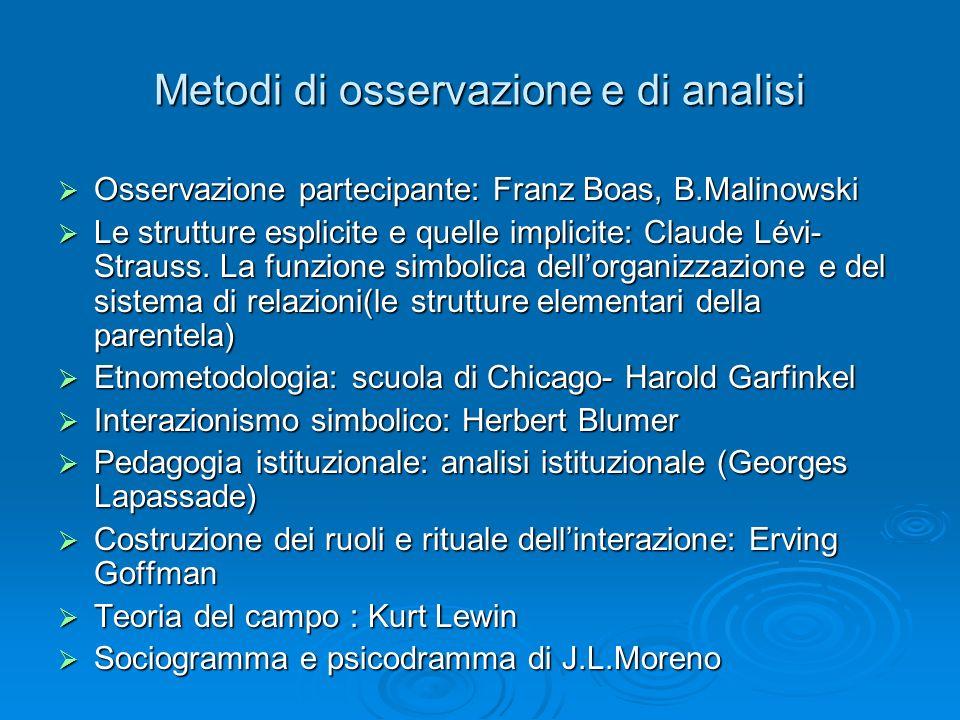 Metodi di osservazione e di analisi