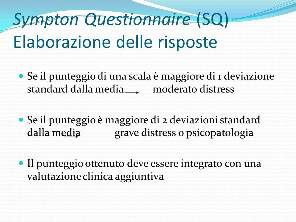 Sympton Questionnaire (SQ) Elaborazione delle risposte