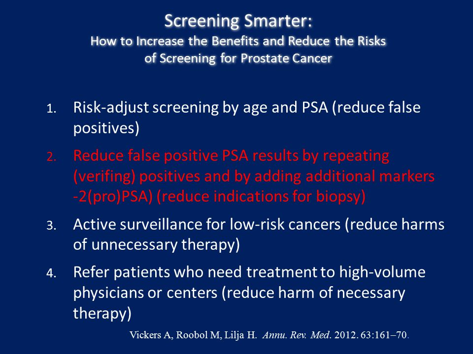 Screening Smarter: How to Increase the Benefits and Reduce the Risks of Screening for Prostate Cancer