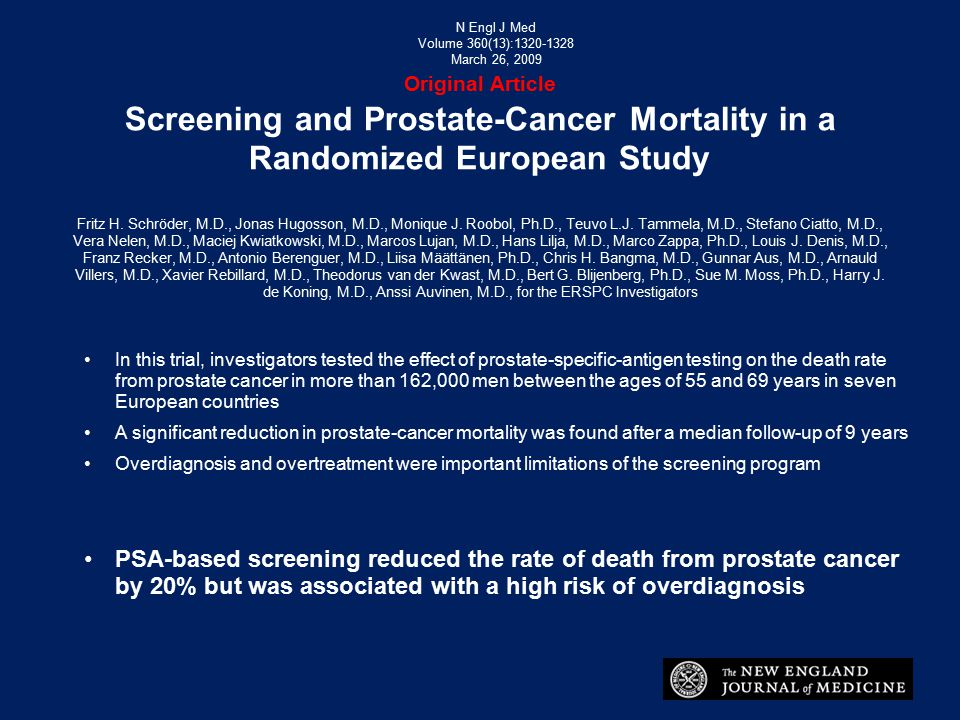 N Engl J Med Volume 360(13):1320-1328. March 26, 2009. Original Article Screening and Prostate-Cancer Mortality in a Randomized European Study.