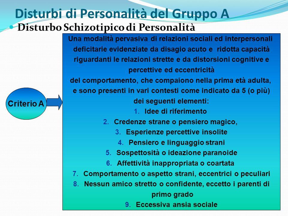 Disturbi di Personalità del Gruppo A