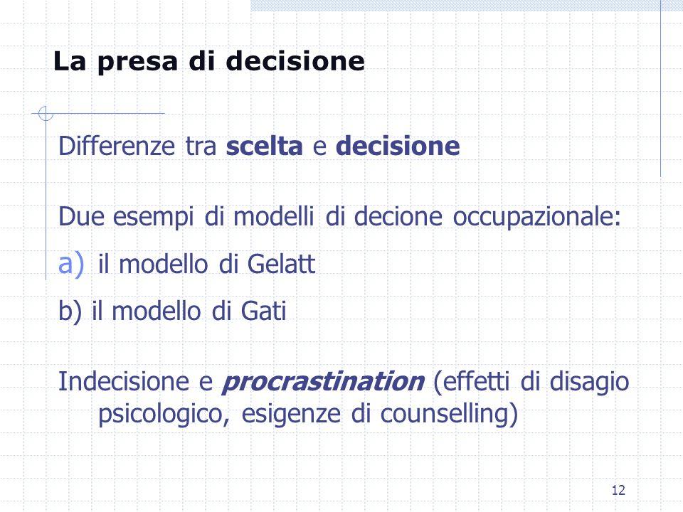 La presa di decisione Differenze tra scelta e decisione. Due esempi di modelli di decione occupazionale:
