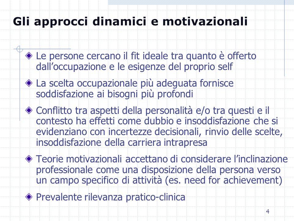 Gli approcci dinamici e motivazionali