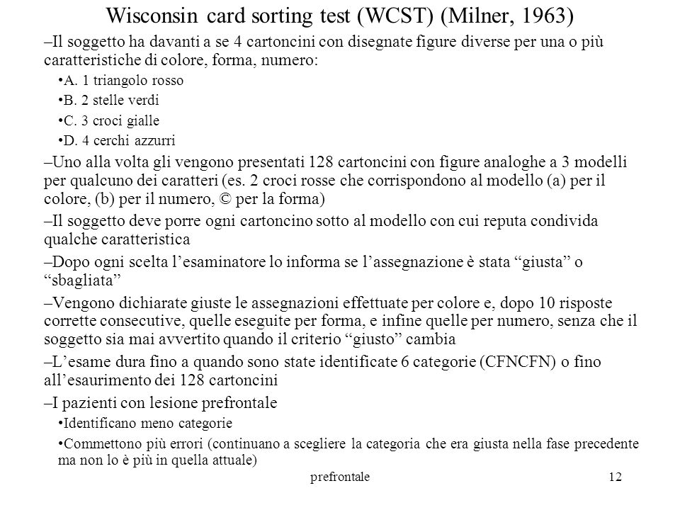Wisconsin card sorting test (WCST) (Milner, 1963)