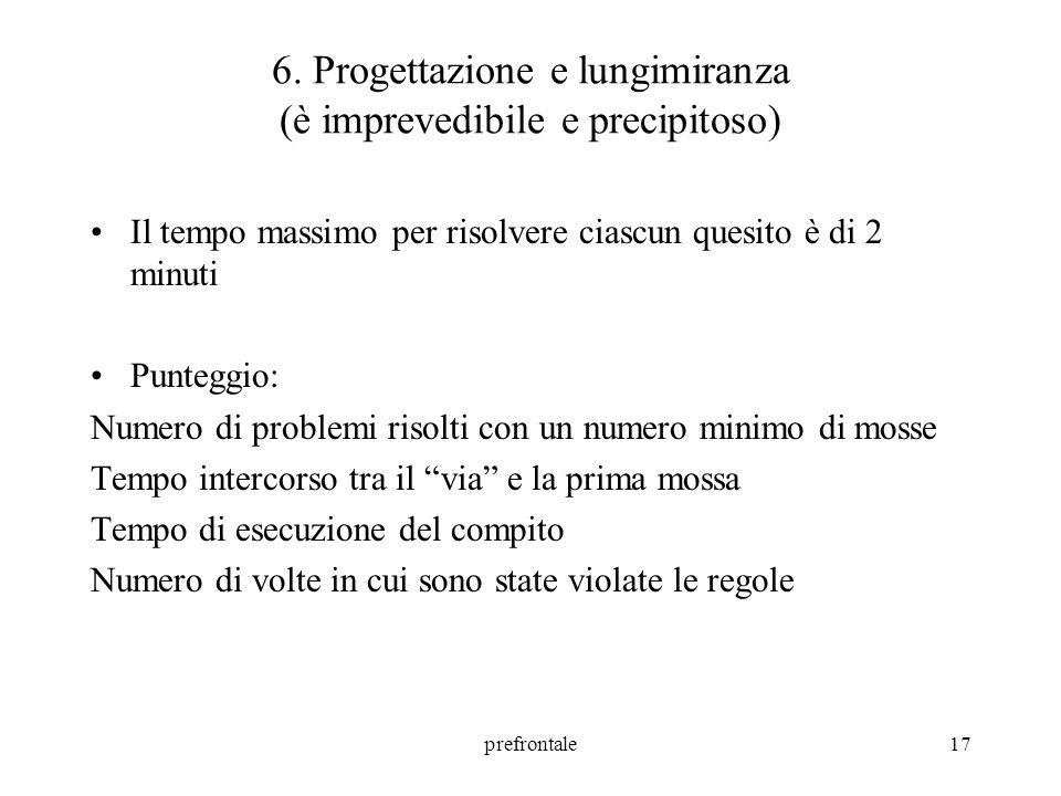 6. Progettazione e lungimiranza (è imprevedibile e precipitoso)