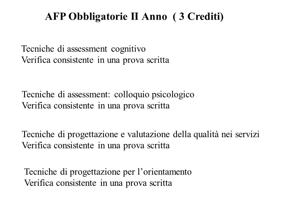 AFP Obbligatorie II Anno ( 3 Crediti)