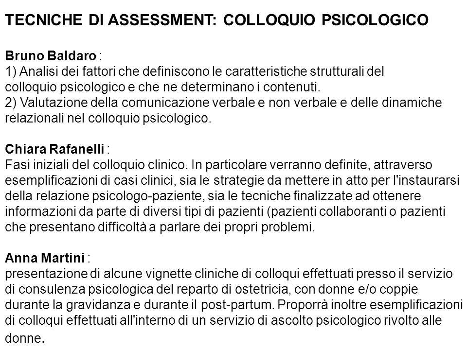 TECNICHE DI ASSESSMENT: COLLOQUIO PSICOLOGICO