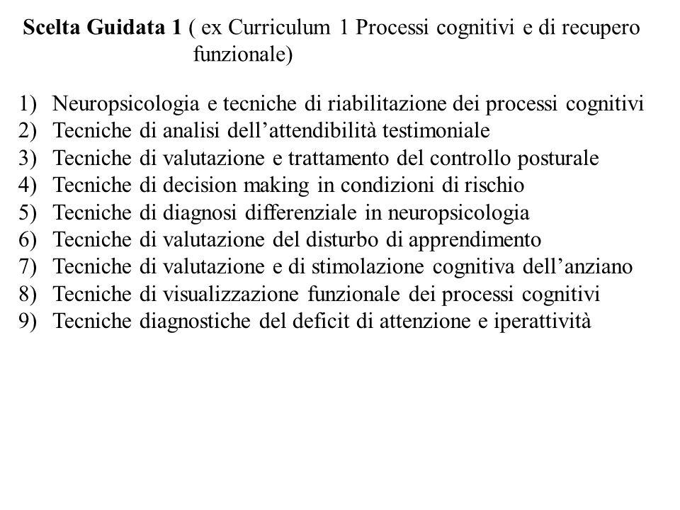 Scelta Guidata 1 ( ex Curriculum 1 Processi cognitivi e di recupero