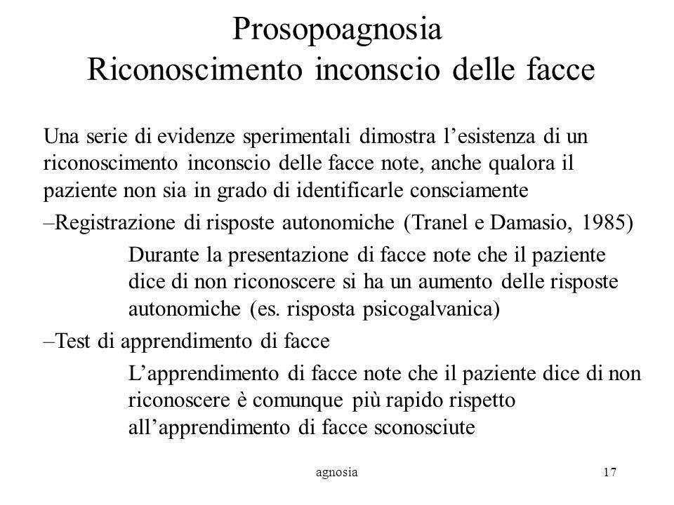 Prosopoagnosia Riconoscimento inconscio delle facce