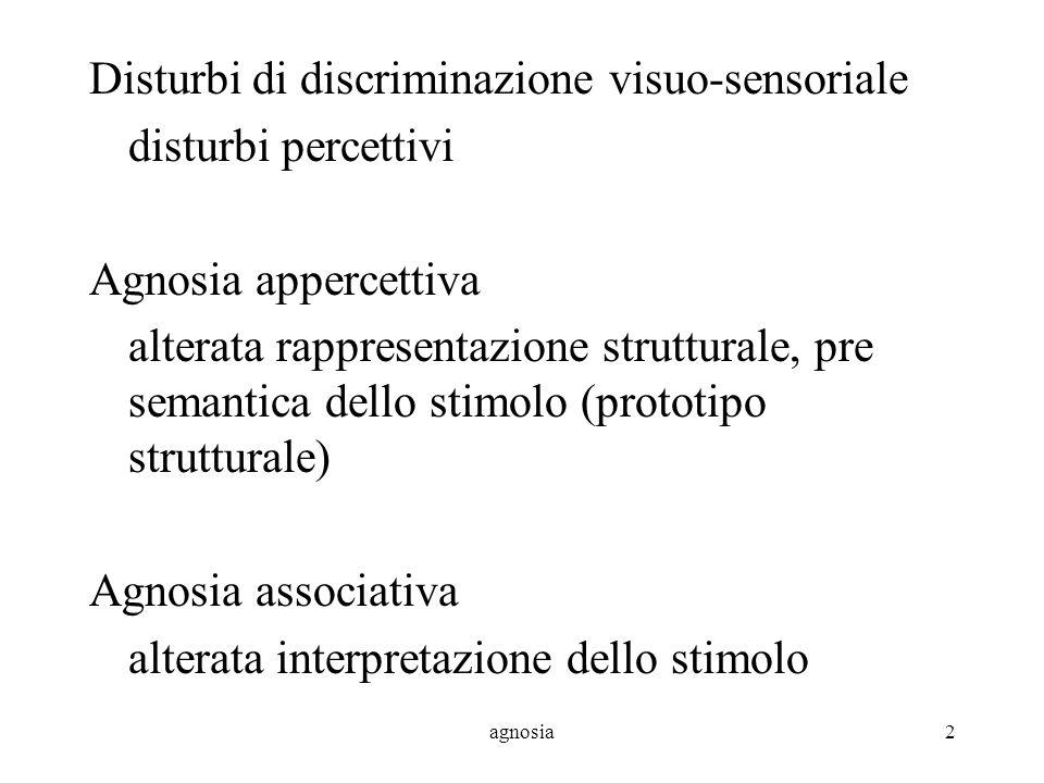 Disturbi di discriminazione visuo-sensoriale disturbi percettivi
