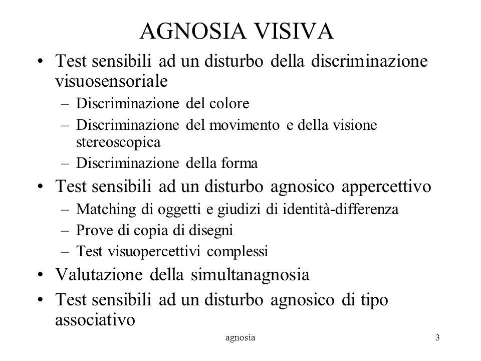 AGNOSIA VISIVA Test sensibili ad un disturbo della discriminazione visuosensoriale. Discriminazione del colore.