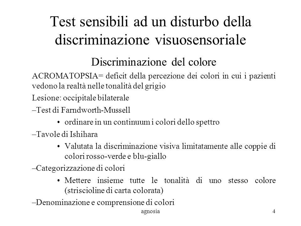Test sensibili ad un disturbo della discriminazione visuosensoriale