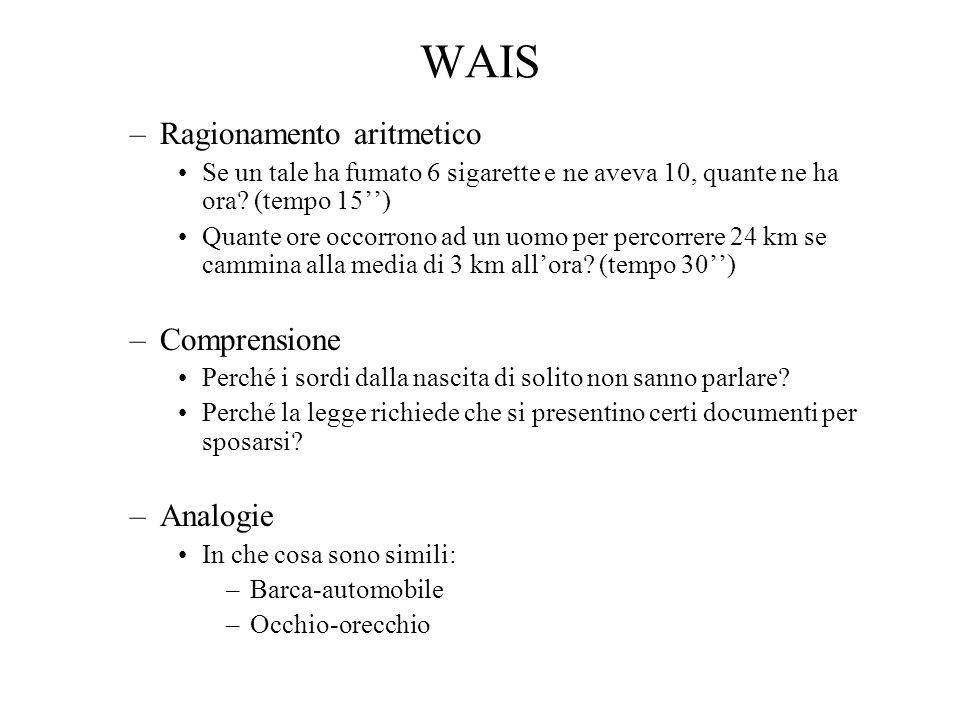 WAIS Ragionamento aritmetico Comprensione Analogie