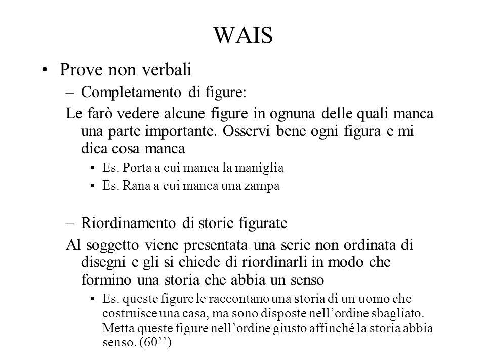 WAIS Prove non verbali Completamento di figure: