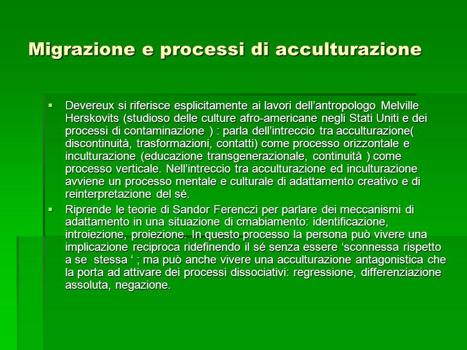 Migrazione e processi di acculturazione