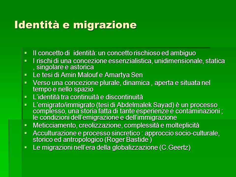 Identità e migrazione Il concetto di identità: un concetto rischioso ed ambiguo.