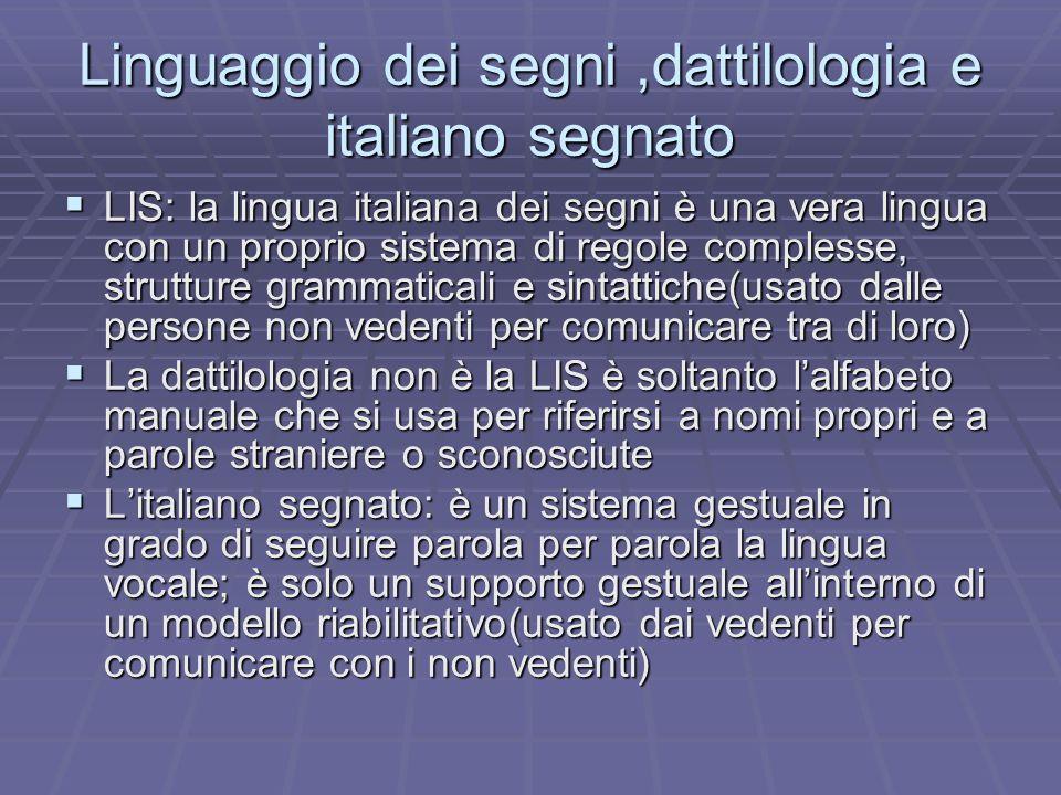 Linguaggio dei segni ,dattilologia e italiano segnato