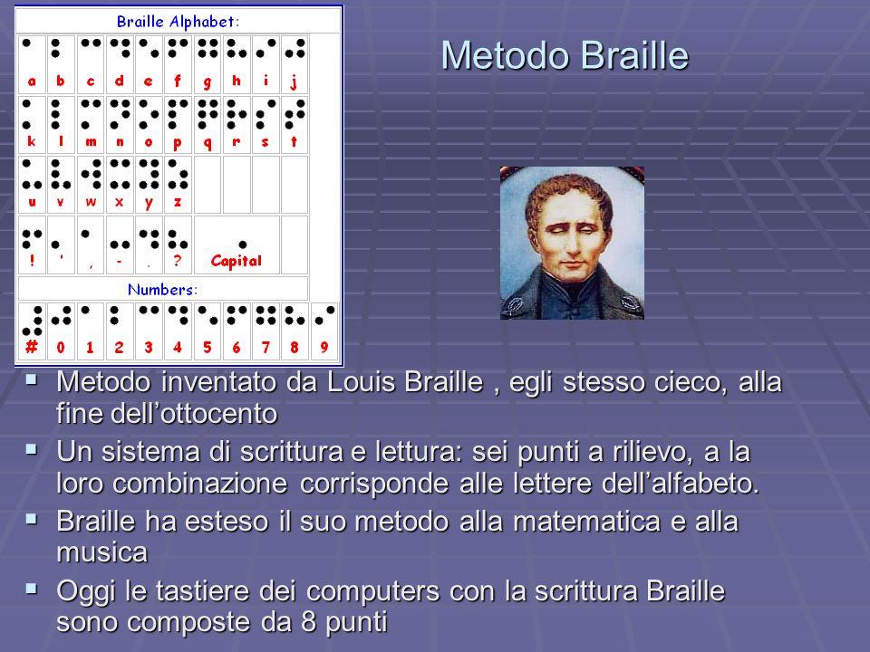 Metodo BrailleMetodo inventato da Louis Braille , egli stesso cieco, alla fine dell'ottocento.