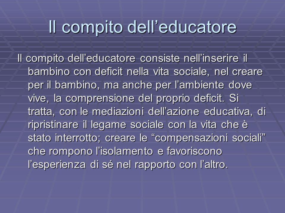 Il compito dell'educatore